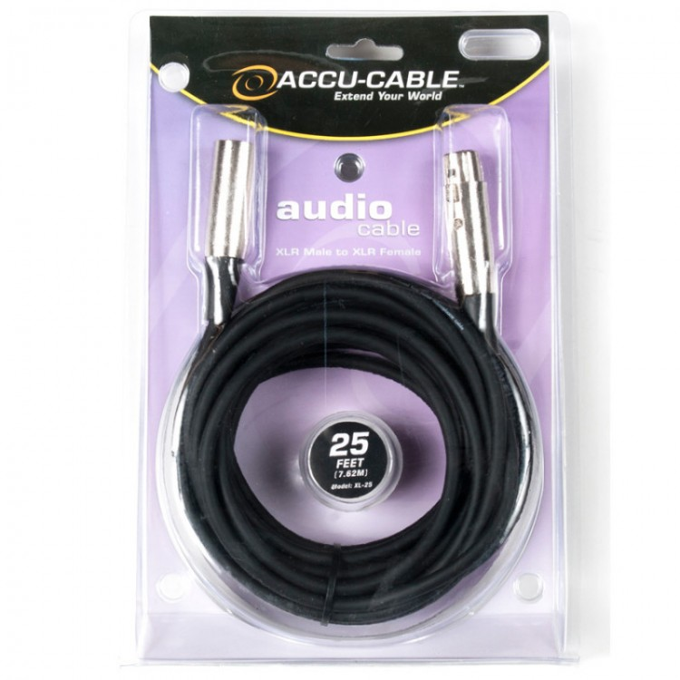 Accu Cable XL-25 - 25 foot XLR Male to XLR Female Audio/DMX Cable